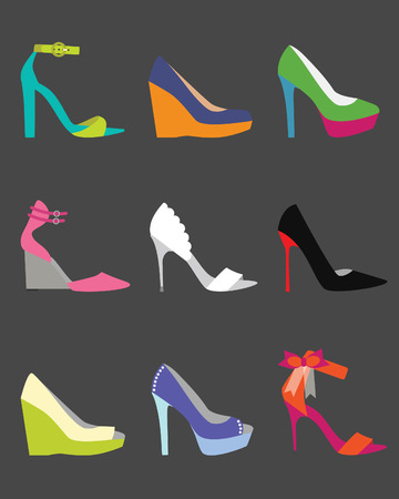 Unique colorful women shoe icons - flat modern design on dark gray background Vector