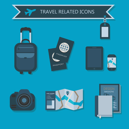 Some travel essentials and related icons Vector