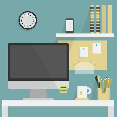 Close up of flat, modern, and stylish working place Vector