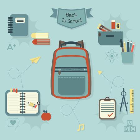 case: Volver a la escuela los iconos conjunto - flat diseño moderno