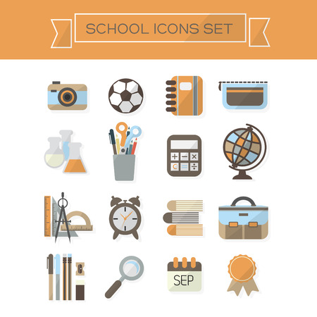 School and educational icons set - Modern flat design Vector