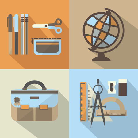 School stuff icons set with long shadow Vector
