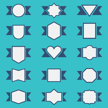 Set of cute ribbon badges and labels in different shapes Vector