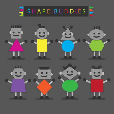 Shaped body buddies - Set of basic different cute shaped characters in colorful minimal flat design on dark gray background Vector
