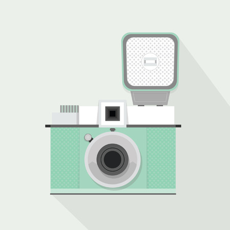 Retro light teal camera with flash and long shadow - Flat modern design Vector