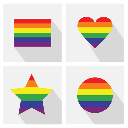 Pride flag stripe color icons in different shapes and long shadows - Rectangle, circle, heart shape, and star shape Vector