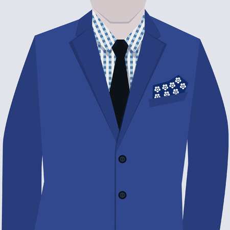 button up shirt: Male fashionable blue suit with ckeckered shirt and tie close up