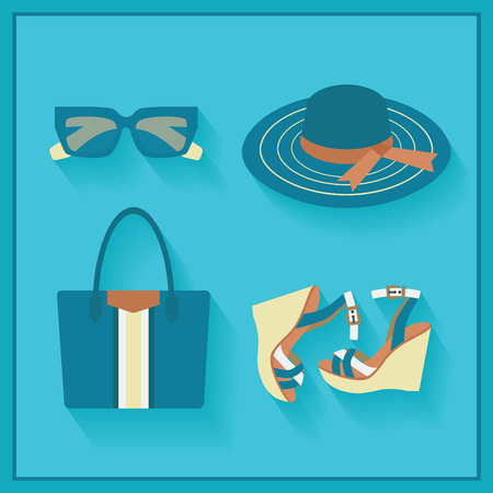 Women fashionable summer accessories - color blue in flat design