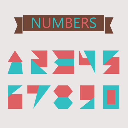 six objects: Flat geometric numbers with shapes