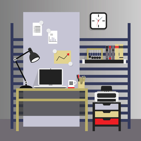 modern interior: Flat, modern, and stylish interior working place in illustration Illustration
