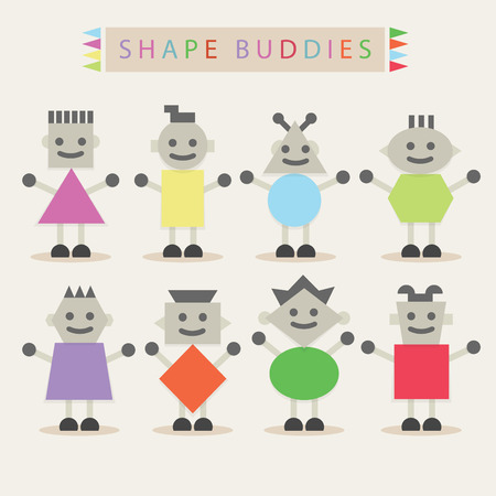 shaped: Shaped body buddies - Set of basic different cute shaped characters on off white background