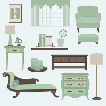 Living room furniture and accessories in color teal Vector