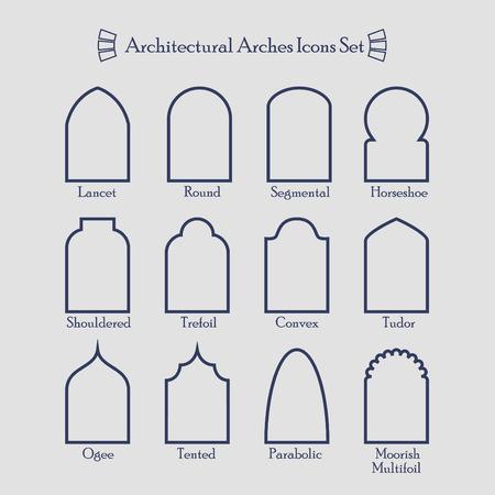 Reihe von gemeinsamen Arten von architektonischen Bögen Rahmensymbole