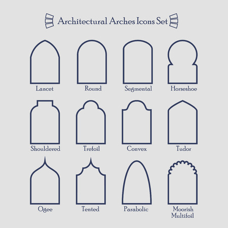 Set of common types of architectural arches frame icons
