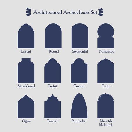 Reihe von gemeinsamen Arten von architektonischen Bögen Silhouette Icons Illustration