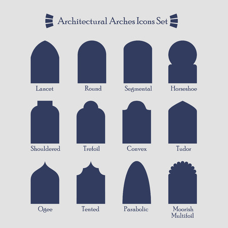 trefoil: Set of common types of architectural arches silhouette icons