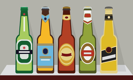A row of full beer bottles with caps on a shelf, SET 2 - Modern flat design Vector