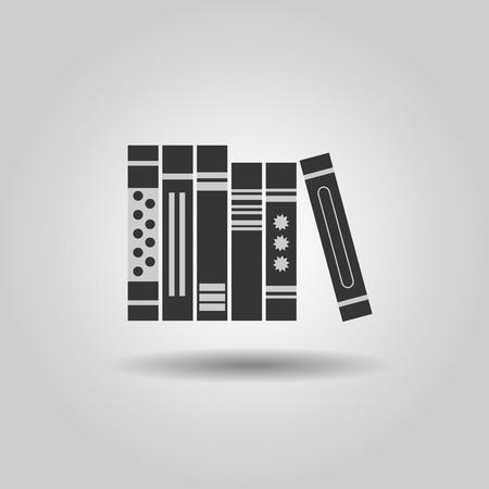 hard: Organized hard copy books icon Illustration