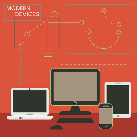Modern Digital Devices - Tablet, cell phone, monitor, and laptop with graphical shapes backgroud Vector