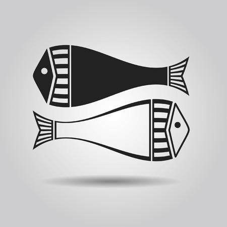on white: Black and white fish - Zodiac sign, Pisces