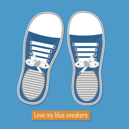 A pair of blue sneakers on blue background Vector