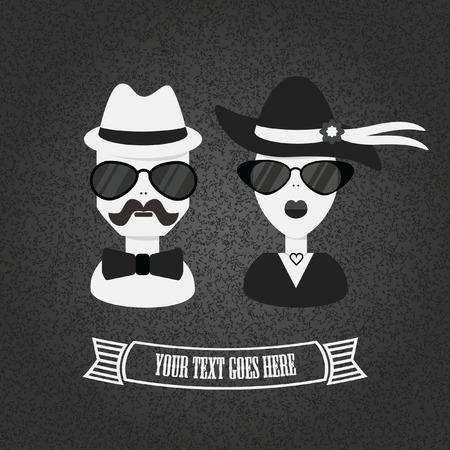 snobby: Hipster paio icona in bianco e nero su sfondo testurizzati Vettoriali
