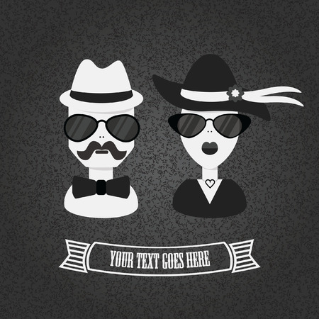 Hipster couple icon in black and white on textured background