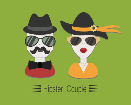 Hipster couple with sunglasses and hats on green background Illustration