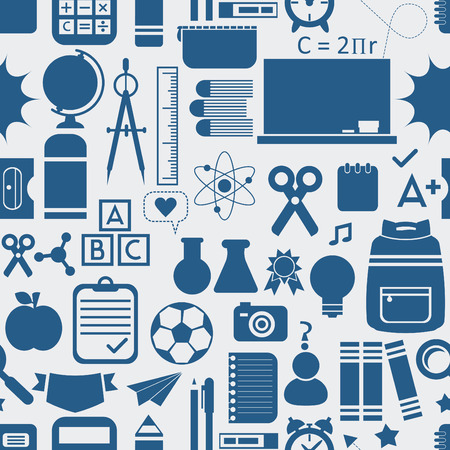 School and educational icons, background, and seamless pattern Vector