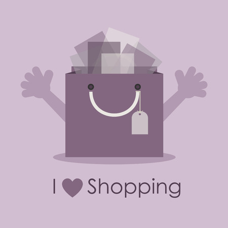 I love shopping, cute smily gift bag with open hands Vector