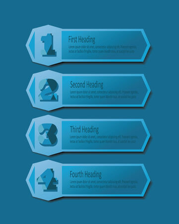 Abstract blue headings template set with numbers