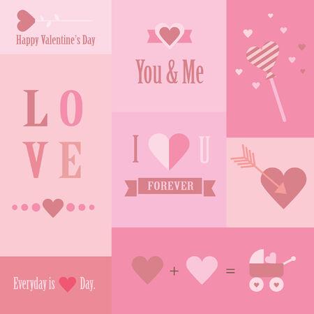 Mini love and valentine s cards Stock Illustratie