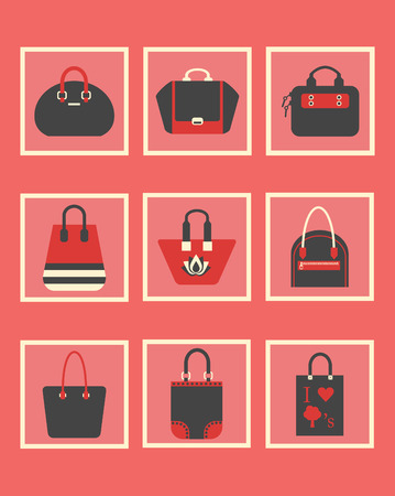 Unique women purse square icons set in pink and red Vector