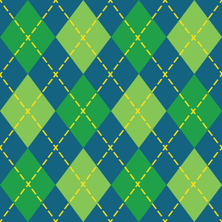 blue plaid: Colorful argyle seamless pattern - Blue, green and yellow