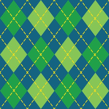 Kleurrijke argyle naadloze patroon - Blauw, groen en geel