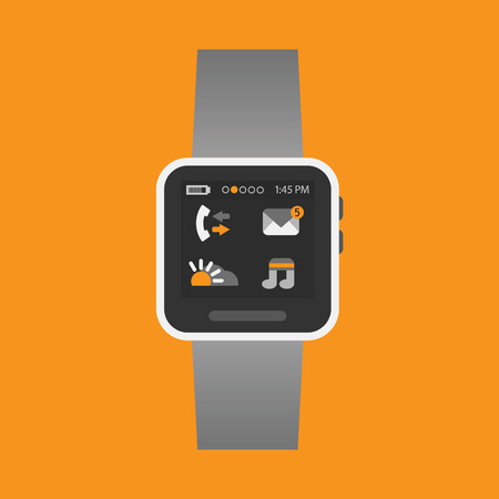 Smart watch with some application icons on an orange background- Modern flat design Vector