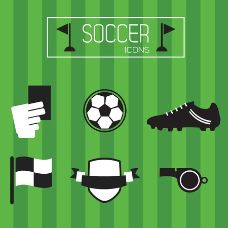 offside: Flat black and white soccer icons set on stripe green background