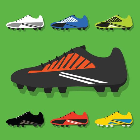 accessory: Soccer shoes set icons with shadow on green background- Flat modern design