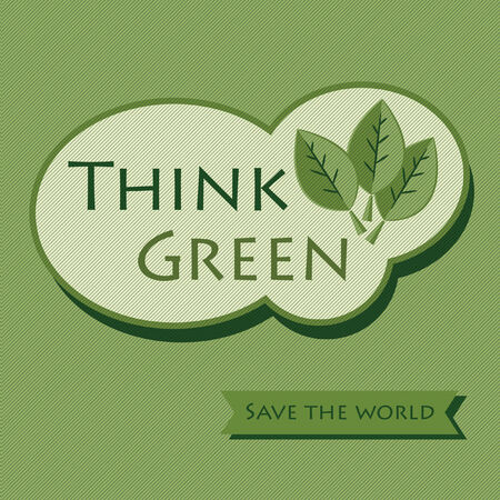 Think Green sticker message - Save The World