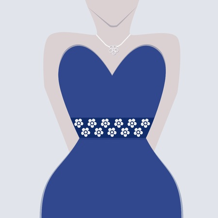 strapless: Female fashionable blue gown with floral waist band and pearl necklace close up Illustration
