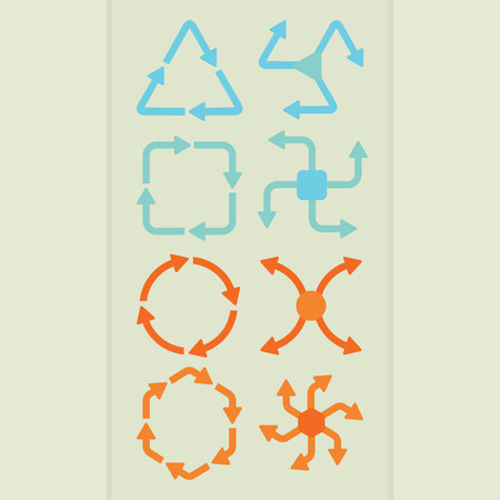 Abstract direction arrow shapes in different colors set Ilustrace