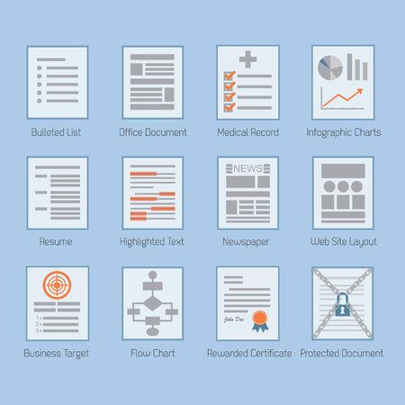 rewarded: Conceptual web y de documentos de papel layouts iconos conjunto - dise�o plano moderno en fondo azul