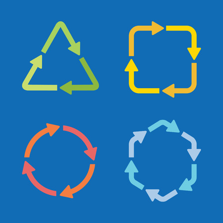 Colorful arrow icons in different shapes and colors set Ilustrace