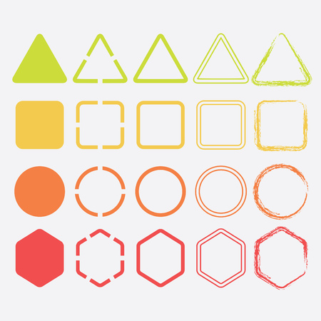 Colorful shape icons in different colors and designs set