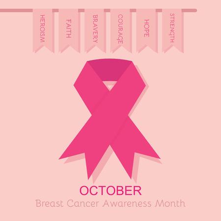 Breast Cancer Awareness nastro rosa manifesto Archivio Fotografico - 31777354