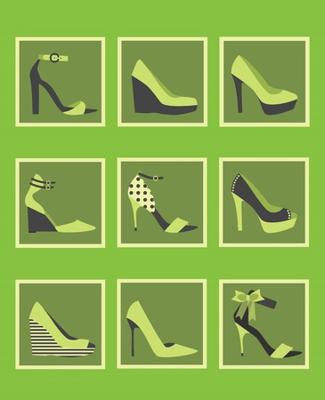 Unique green women shoes icons set