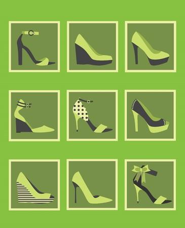 Unique green women shoes icons set Vector