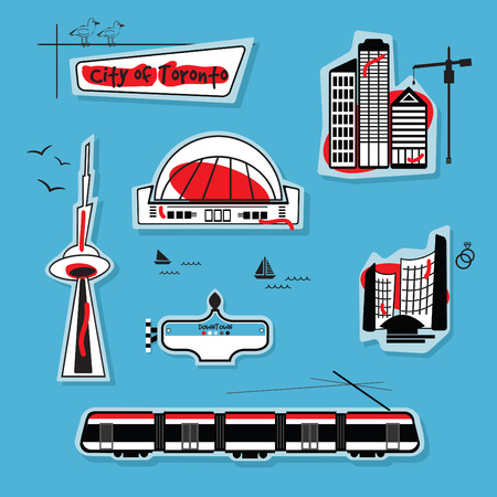Abstract City of Toronto icons on blue background  イラスト・ベクター素材