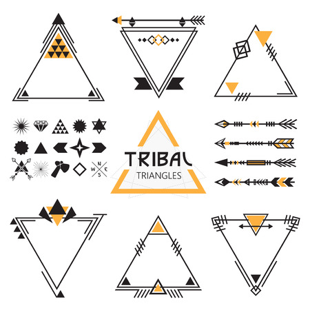 Tribal empty triangles labels, arrows, and symbols set Vector