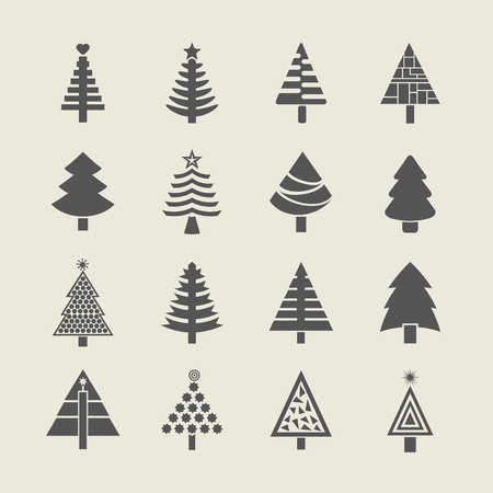 Abstract silhouette Christmas tree icons set Vector